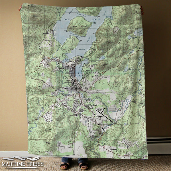 Lake Placid, NY Topo Map Blanket