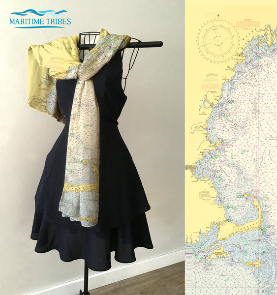 Cape Cod to Maine (New England), Nautical Chart Scarf