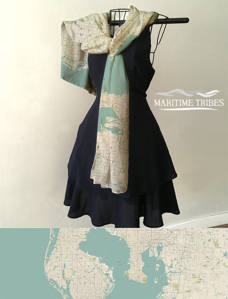 Tampa / Clearwater Sea Glass Style Map Scarf