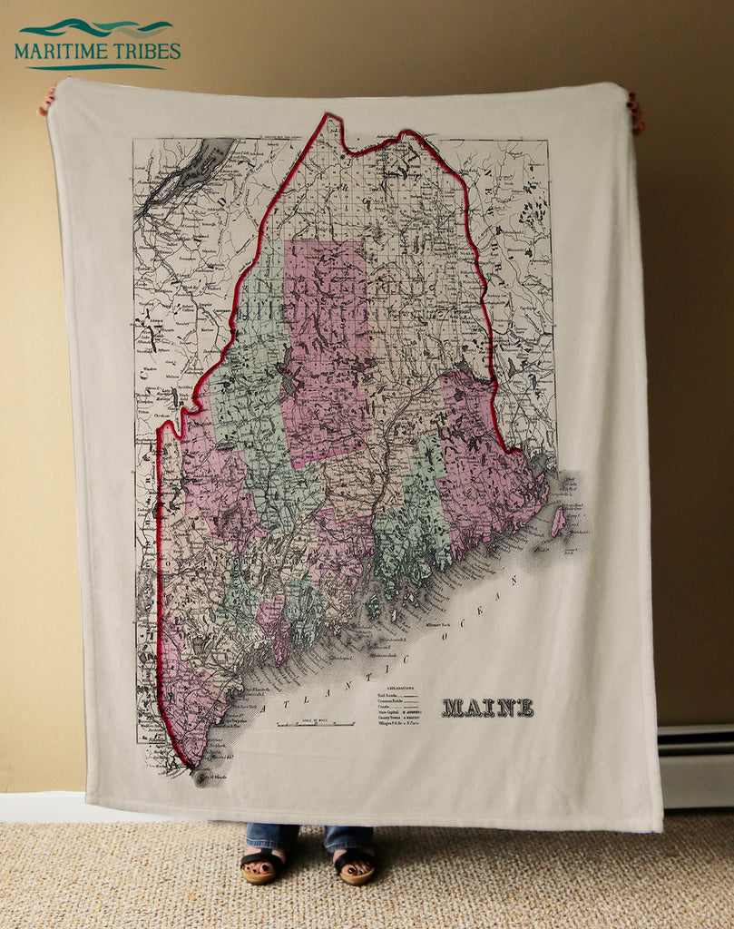 Maine Vintage State Map Blanket