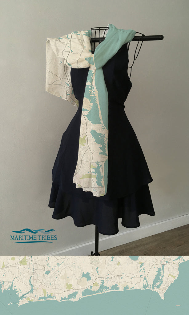 South County RI Sea Glass Map Scarf