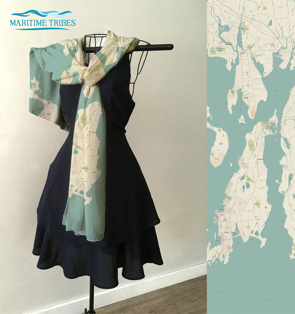 Bristol RI, Sea Glass Map Scarf