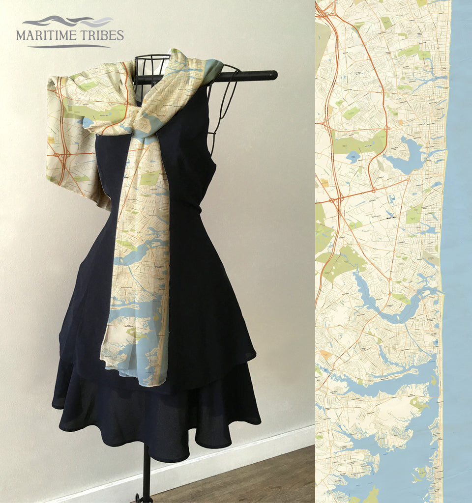 Mantoloking, NJ Vintage Map Scarf