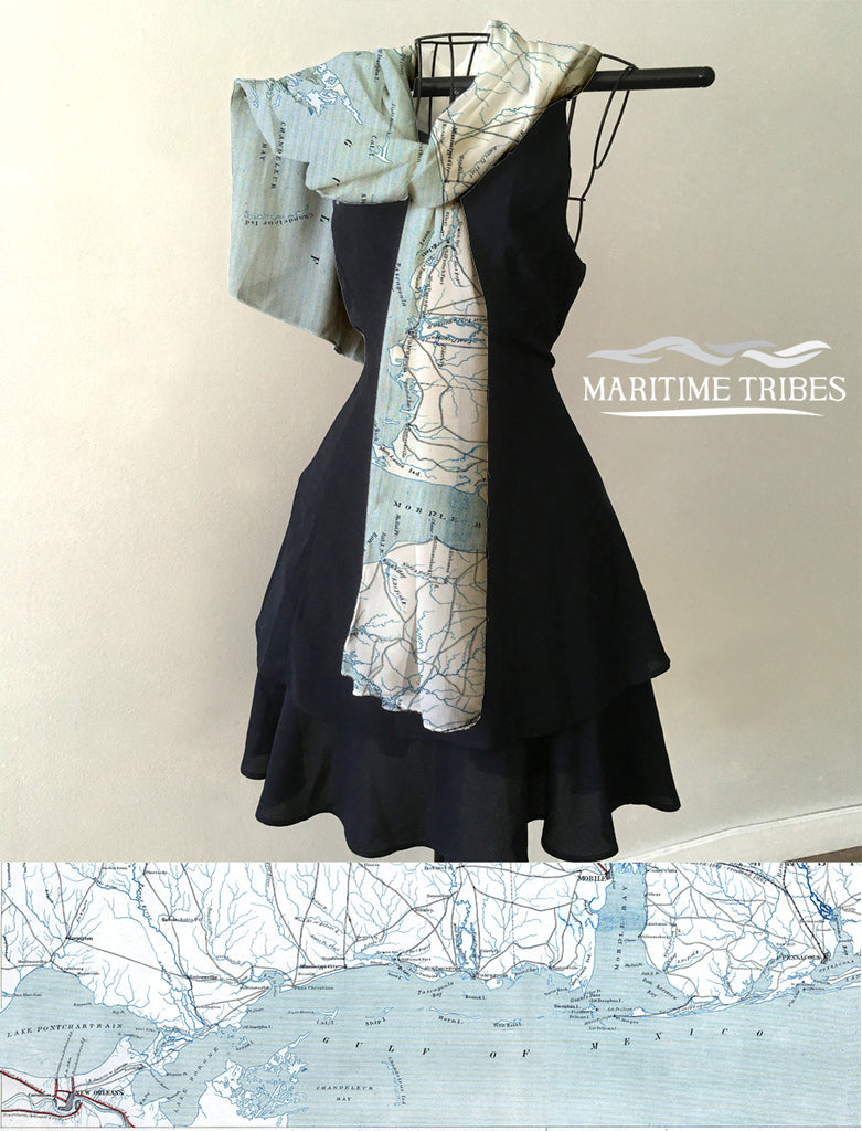 Mississippi Gulf Coast Antique Map (New Orleans to Alabama) Scarf