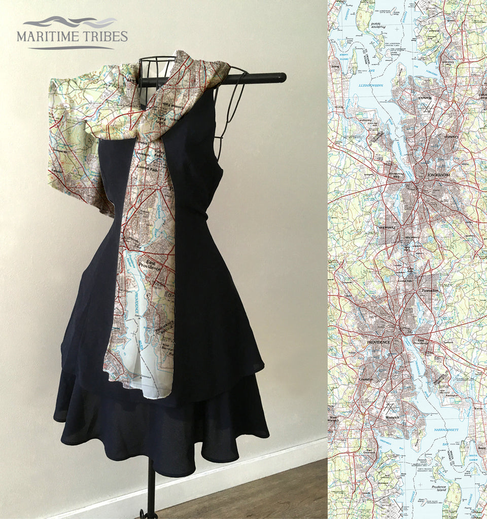 Putnam CT to Raynham MA Vintage Topo Map Scarf