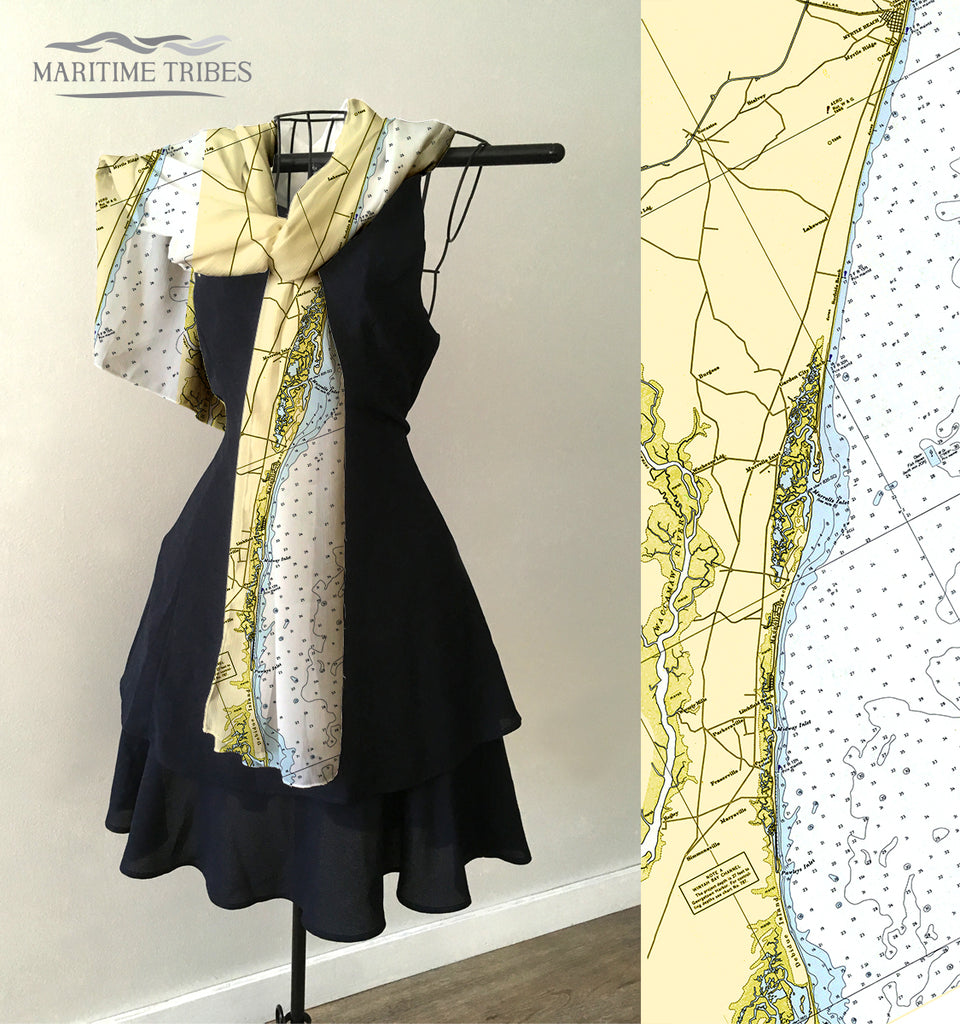 Pawleys Island to Myrtle Beach Chart  Scarf
