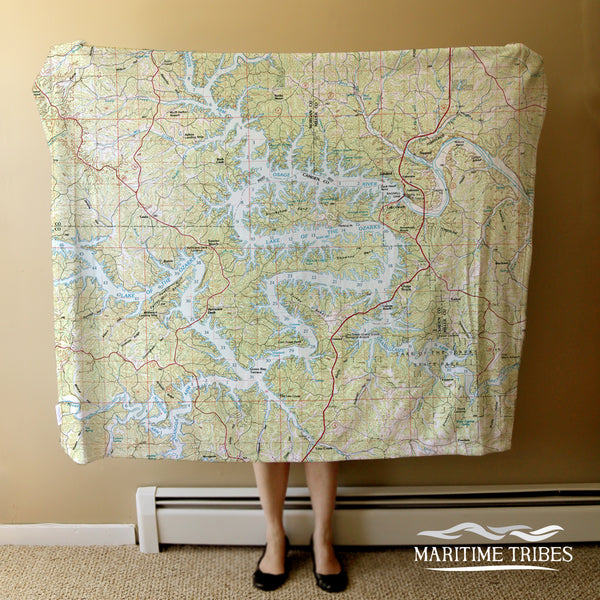 Lake of the Ozarks Map Blanket