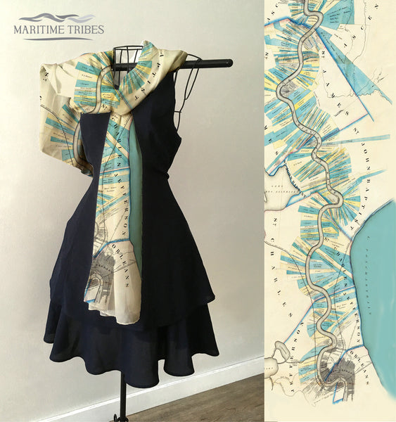 Mississippi River, New Orleans, LA Antique Map Scarf