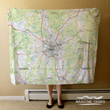 Nashua NH Vintage Topo Map Blanket