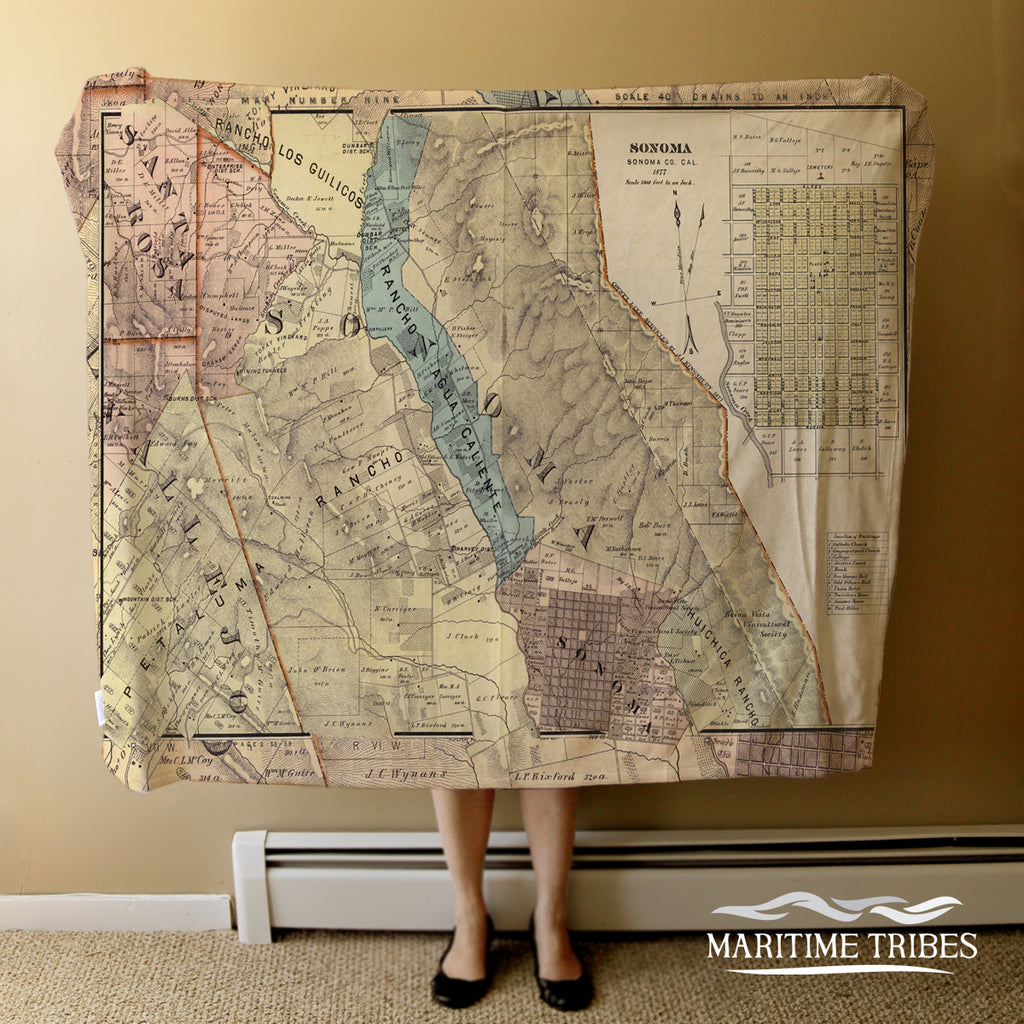 Sonoma County Vintage Atlas Map Blanket