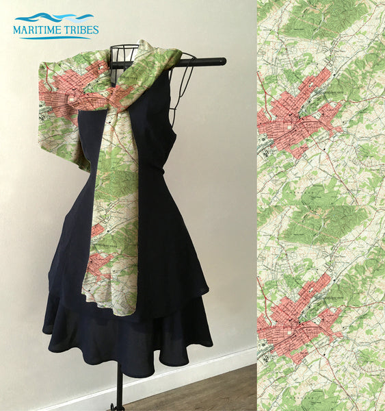 Johnson City, TN Topo Map Scarf