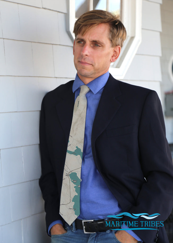 Center Harbor, NH Sea Glass Map Tie