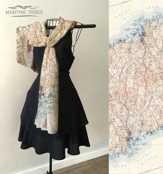 Norwalk - Darien -Westport CT Vintage Map Scarf