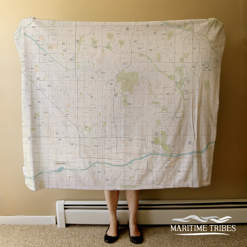 Arcadia, Phoenix AZ Sea Glass Map Blanket