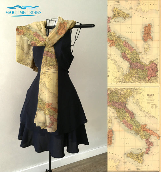 Italy Vintage Map Scarf