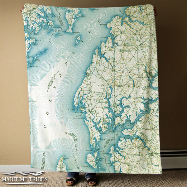 Rock Hall, MD Antique Chesapeake Bay Map Blanket