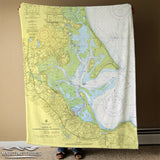 Duxbury Harbor Nautical Chart Blanket