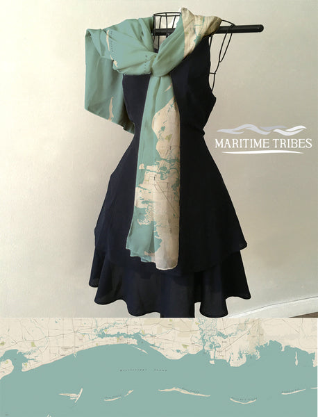 Mississippi Coast Sea Glass Style Map Scarf