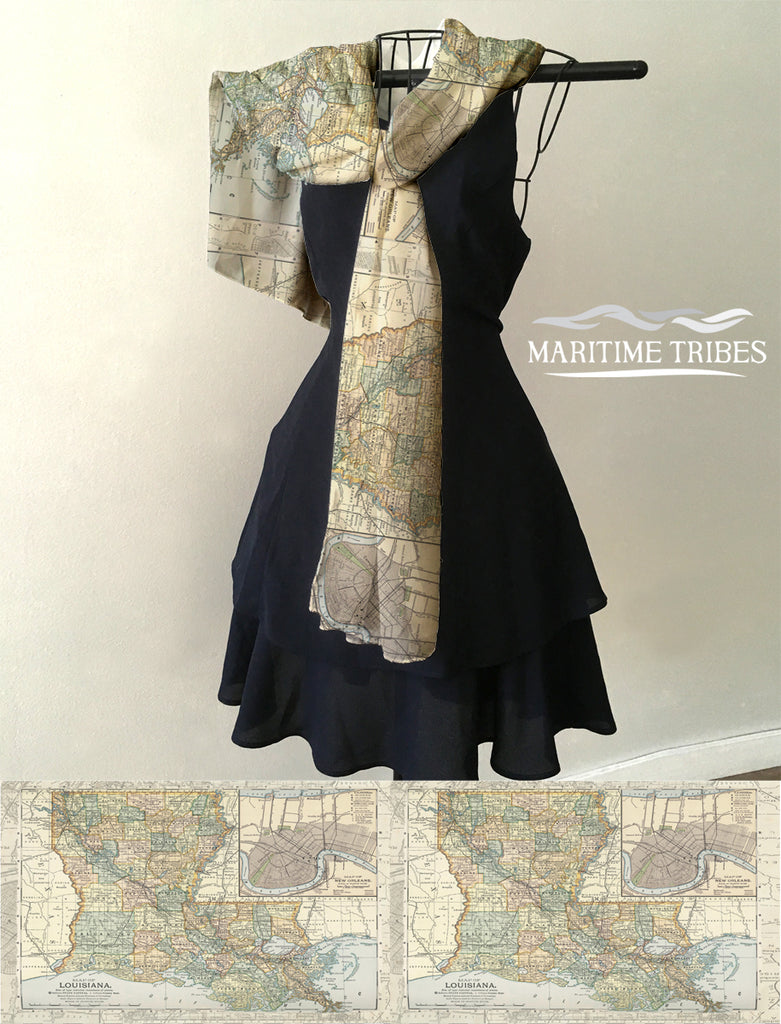 Vintage State map of Louisiana, Earthy Tones Scarf