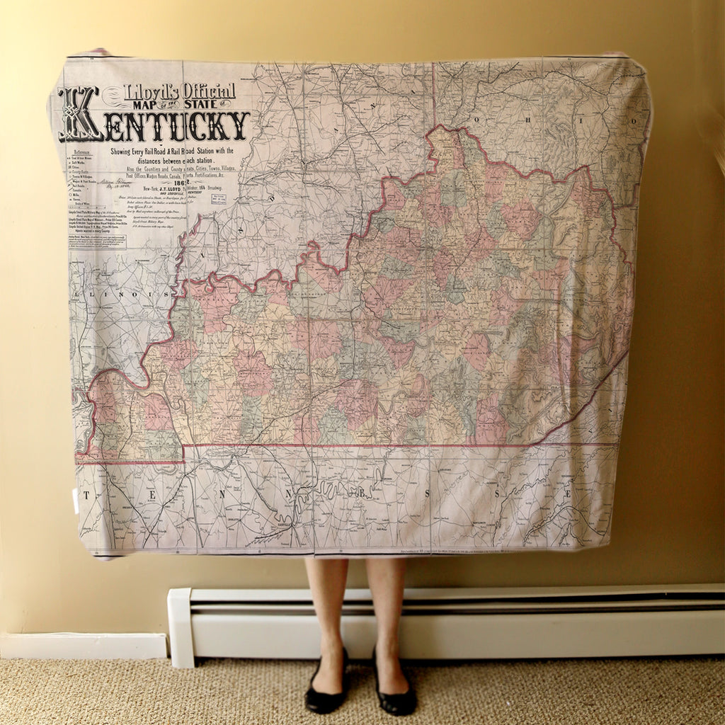 Kentucky Vintage Map Blanket