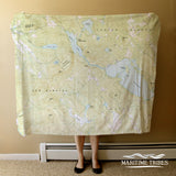 Lake Waukewan, NH Vintage Topo Map Blanket Blanket