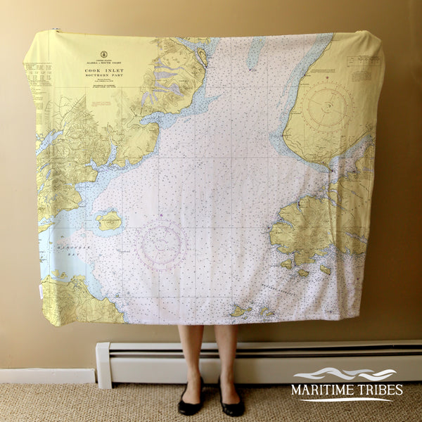 Cook Inlet, Kachemak Bay, AK VIntage Nautical Chart Blanket