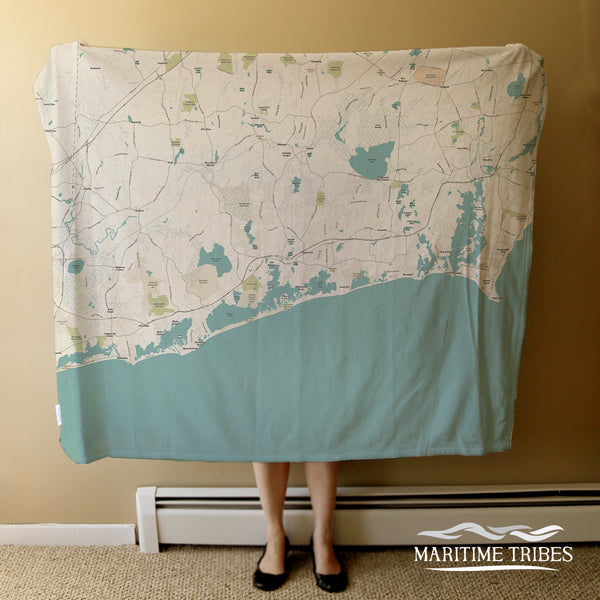 Point Judith to Weeapaug, RI Sea Glass Map (with labels) Blanket