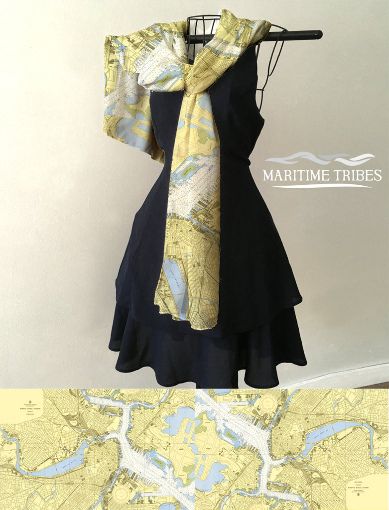 Boston Inner Harbor Nautical Chart Scarf