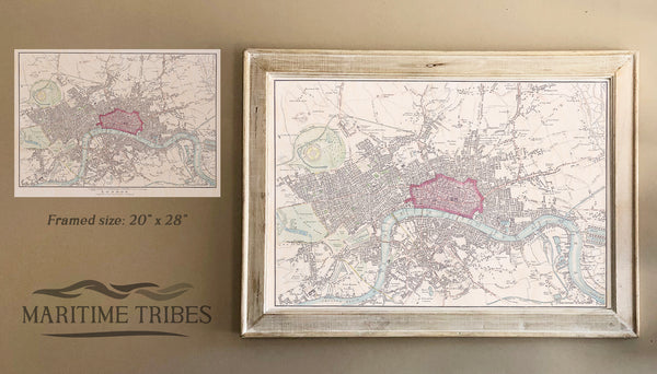 London, England Framed Map