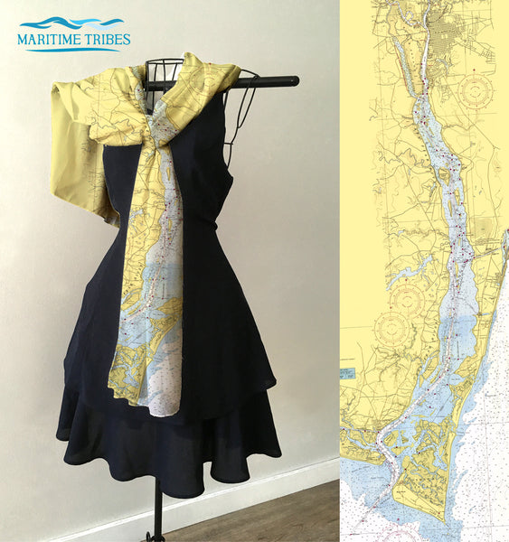 Bald Head Island to Wilmington Map Scarf