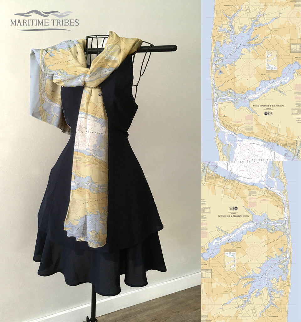 Navesink and Shrewsbury, Two Rivers NJ Nautical Chart Scarf