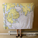 Prospect Harbor & Mt. Desert Island, ME Nautical Chart Blanket