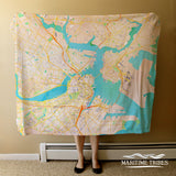 Boston Watercolor Map Blanket