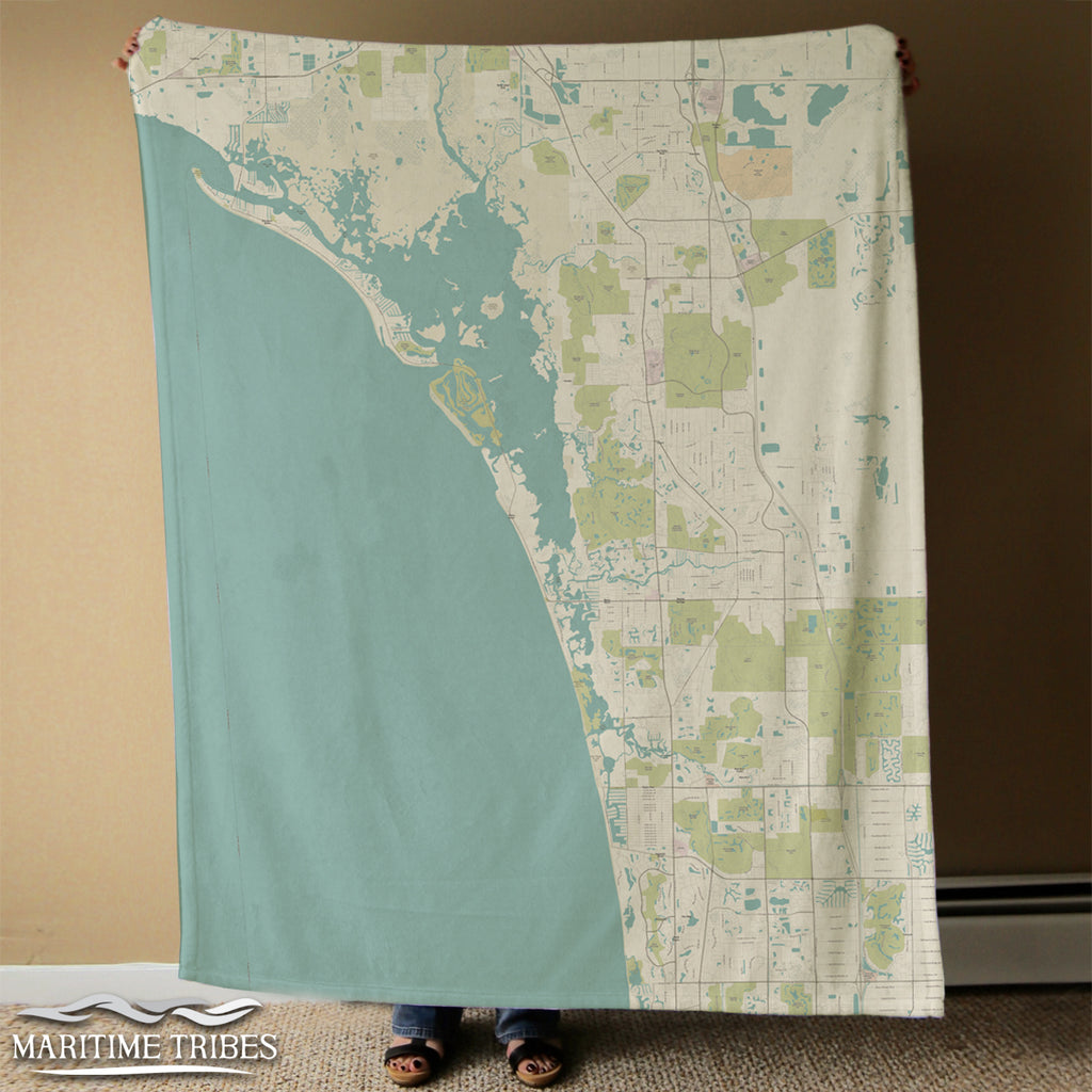 Estero Island to Naples Sea Glass Style Map Blanket