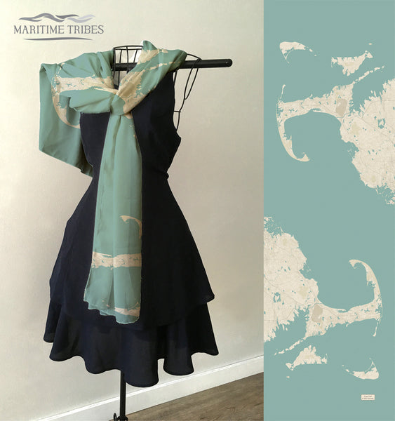 Cape Cod & The Islands Sea Glass map Scarf