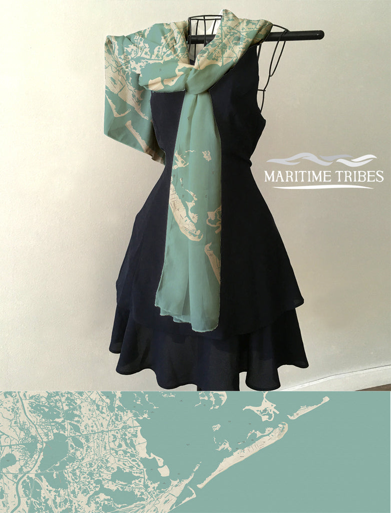 Grand Isle LA Sea Glass Map Scarf