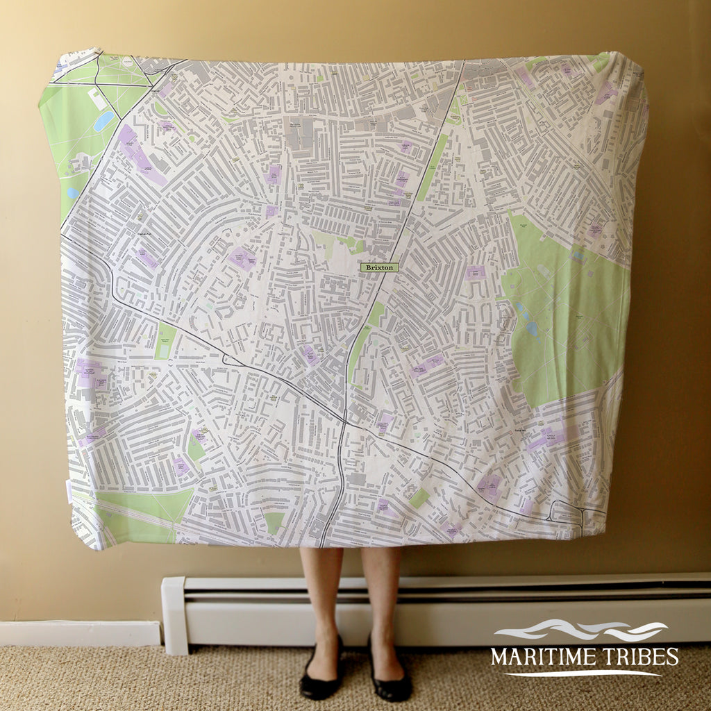 Brixton England World Topo Map Blanket