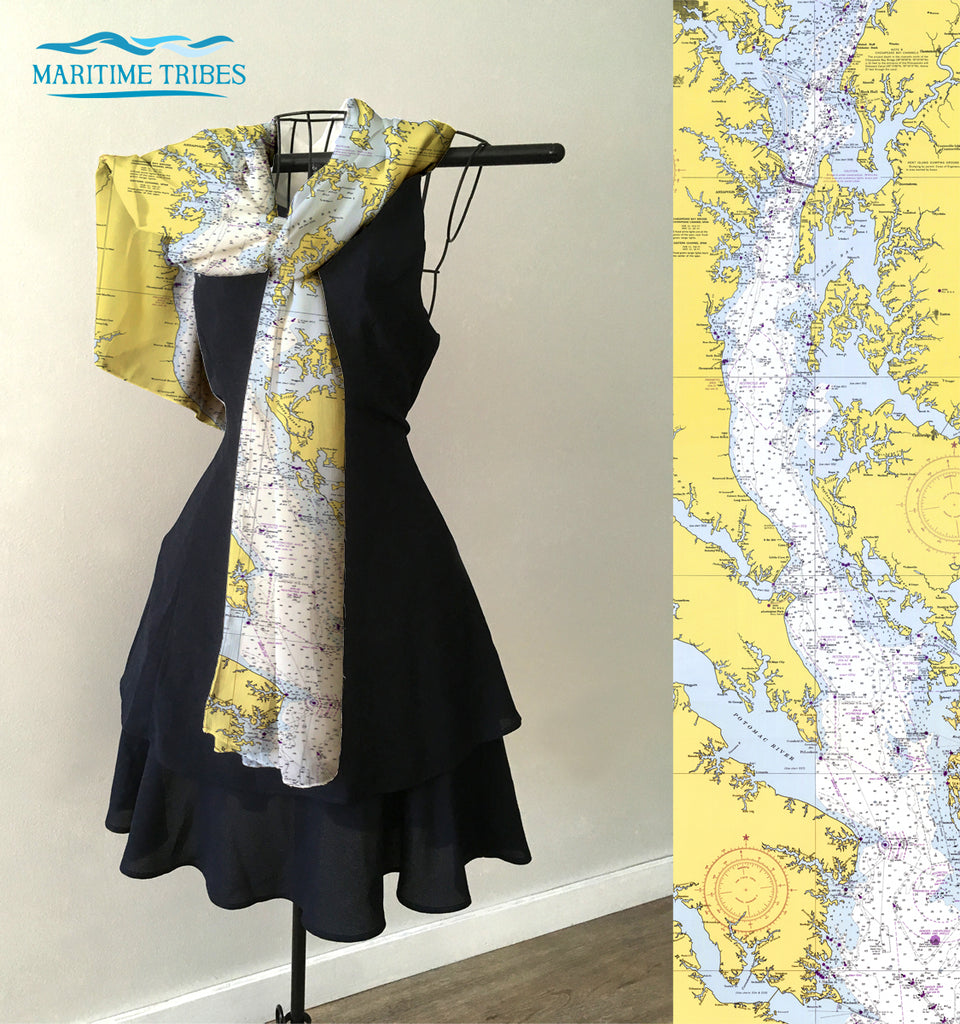 Annapolis MD Nautical Chart Scarf