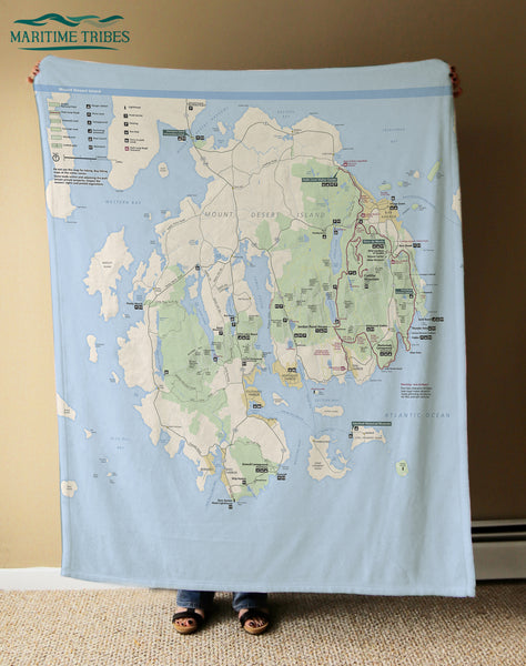 Acadia National Park Map, Maine Blanket