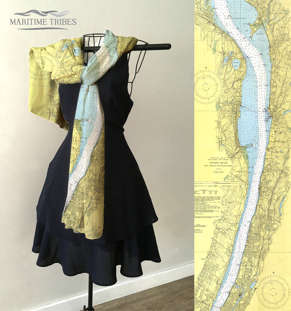 Hudson River, NY  Vintage Nautical Chart Scarf