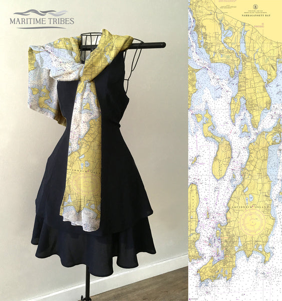 North East Narragansett Bay, Vintage Nautical chart 1973 Scarf