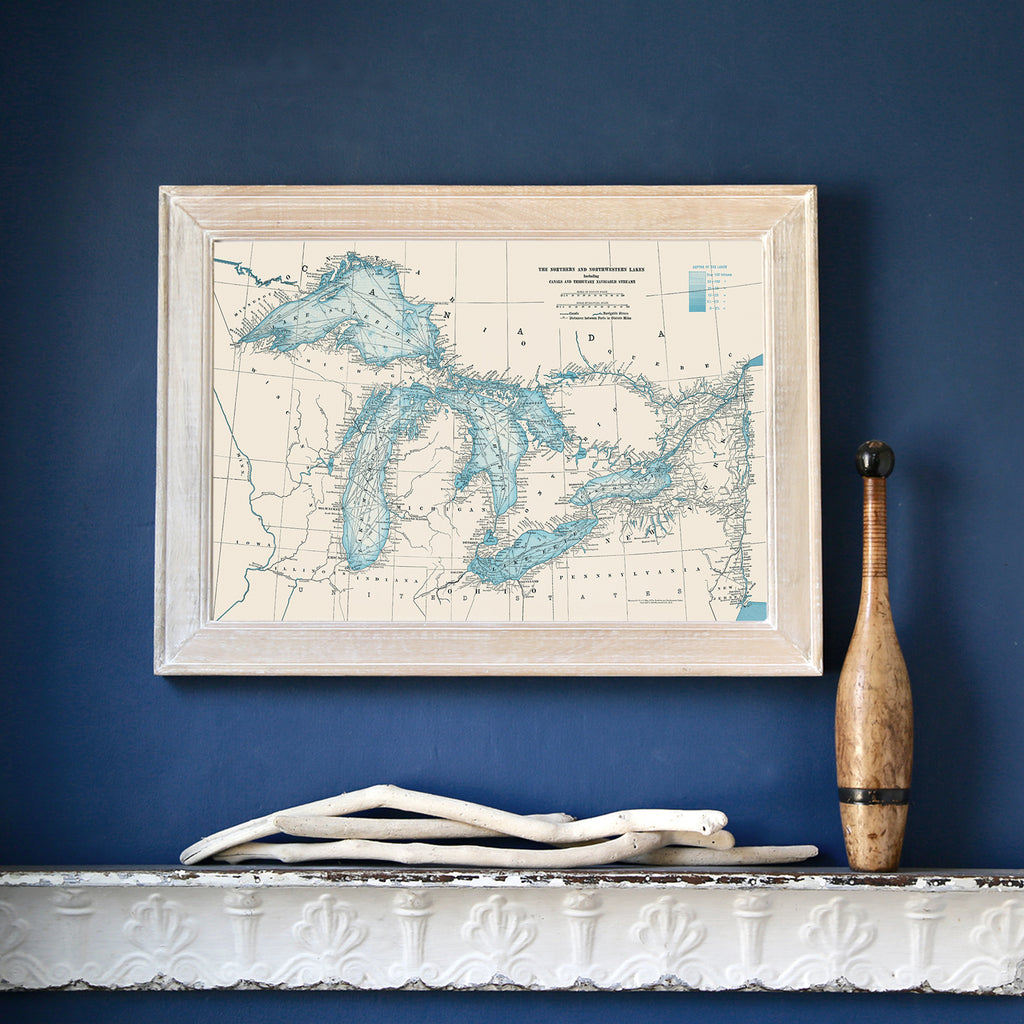 Great Lakes Antique Two Tone map (all lakes) Framed Map