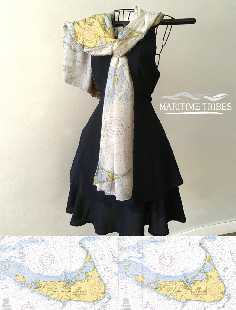 Nantucket, MA Nautical Chart Scarf
