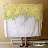 Branford CT Nautical Chart Blanket
