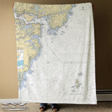 Portsmouth NH Nautical Chart Blanket