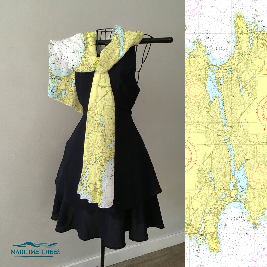Niantic River Nautical Chart Scarf
