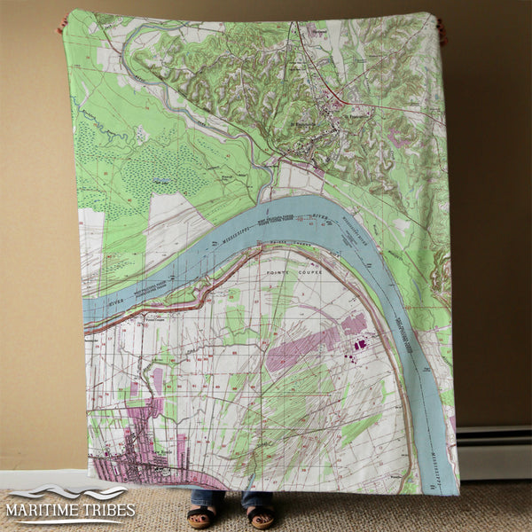 St. Francisville, LA Vintage Map Blanket