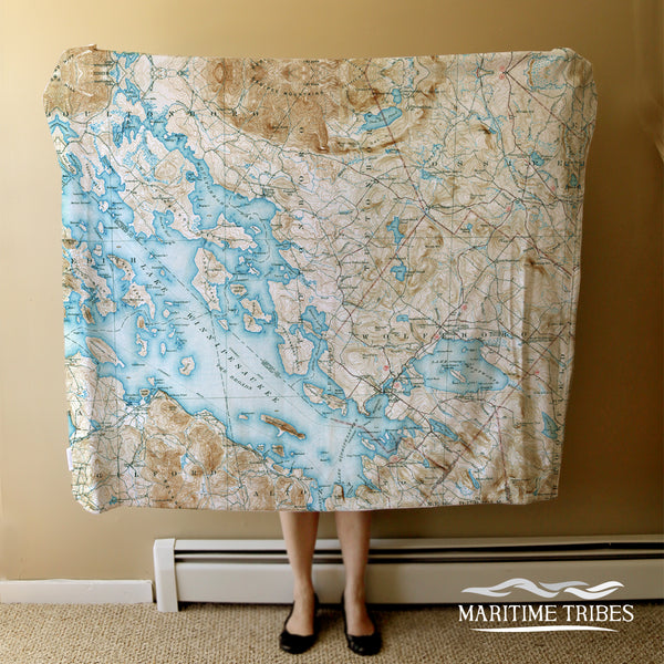 Lake Winnipesaukee, NH Vintage Topo Map Blanket