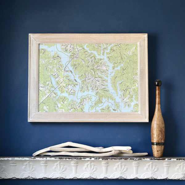 Lake Oconee Framed Map