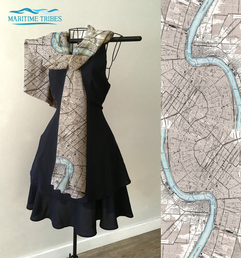 New Orleans River Antique Map Scarf